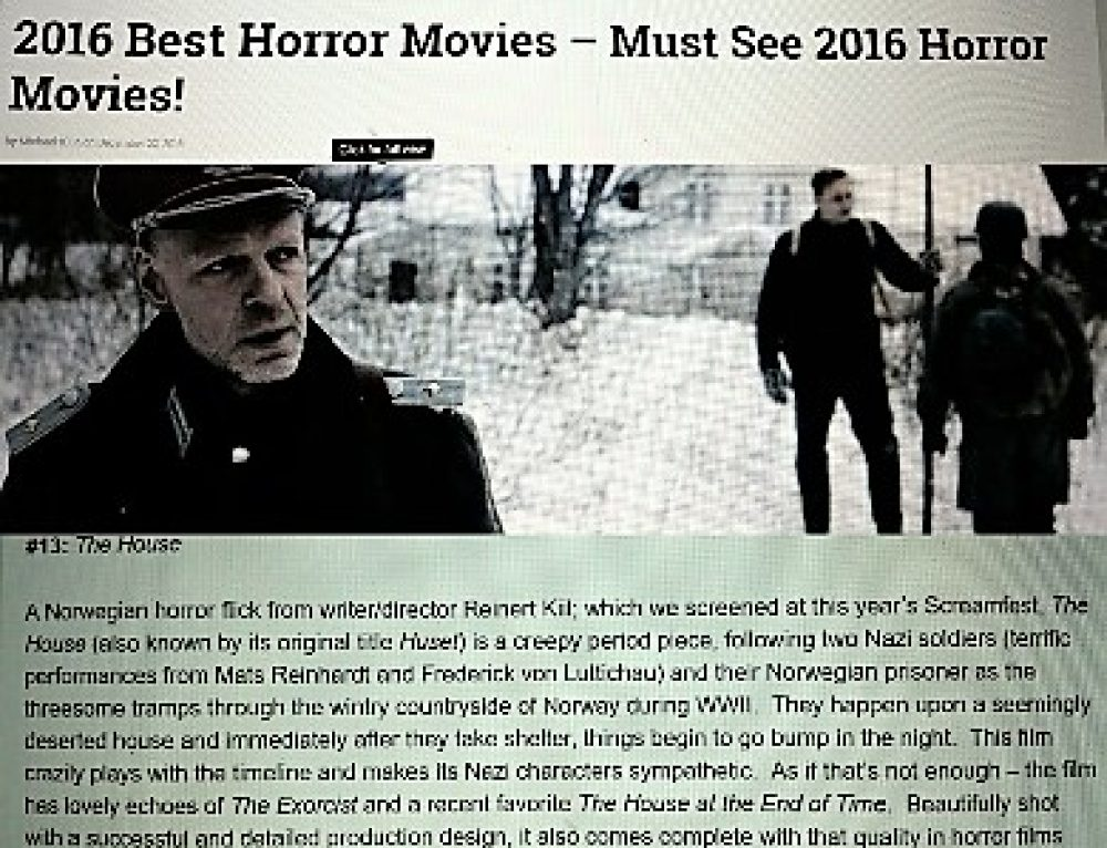 "1/2017: US-Magazine-Horrorfreaknews: ""The House"" among the 15 best horrorfilms in 2016!"